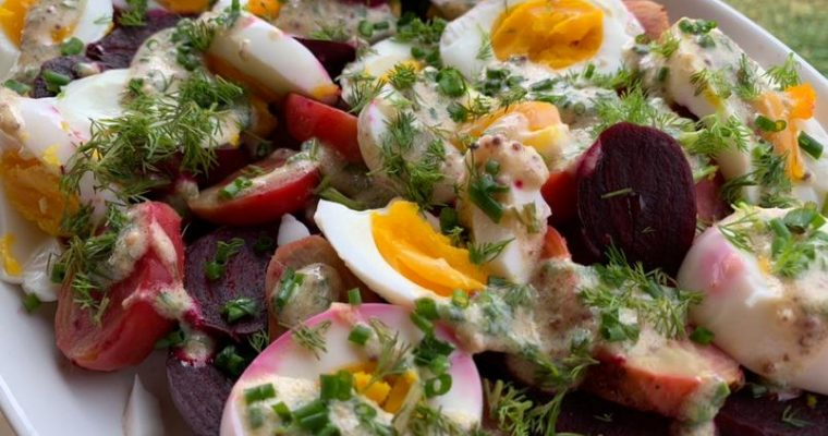 Beet Salad with Hard-Boiled Eggs and Mustard Parsley Dressing