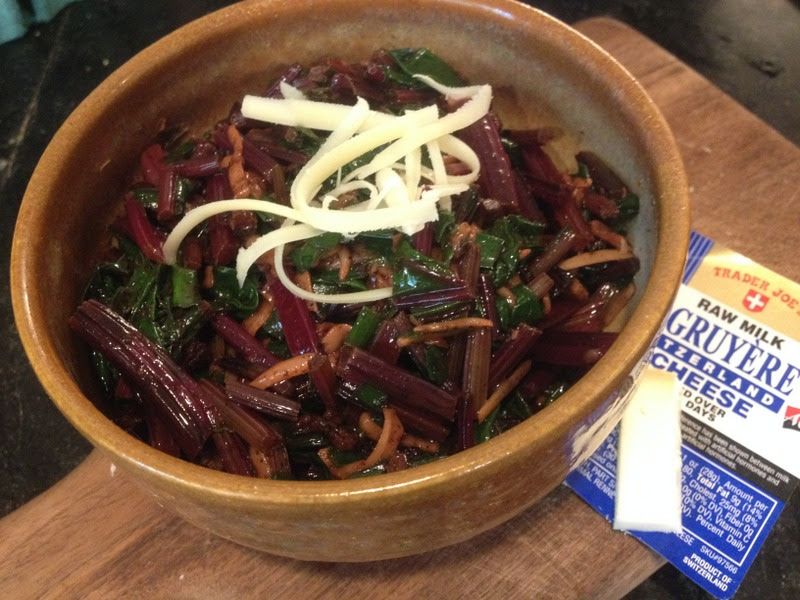 Sauteed Beet Greens with Bacon and Gruyere